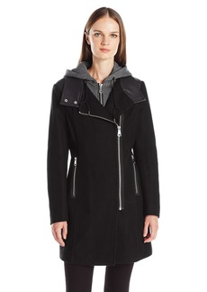 Marc New York by Andrew Marc Women's Phoenix Asymmetric Wool Coat With Detachable Knit Hood
