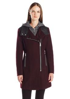 Marc New York by Andrew Marc Women's Phoenix Asymmetric Wool Coat with Detachable Knit Hood