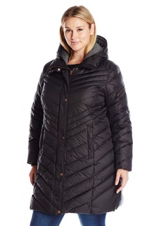 Marc New York by Andrew Marc Women's Plus Size Rayna Quilted Down Coat with Stand Collar and Removable Hood