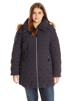 Marc New York by Andrew Marc Women's Plus Size Tobi Quilted Coat with Faux Fur Removable Hood