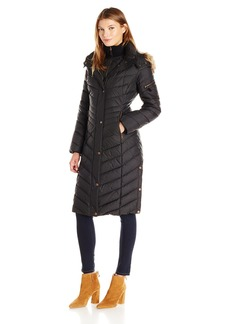 Marc New York by Andrew Marc Women's Rachael 3/4 Length Zipper Front Quilted Down Coat With Fux Fur Removable Hood  S