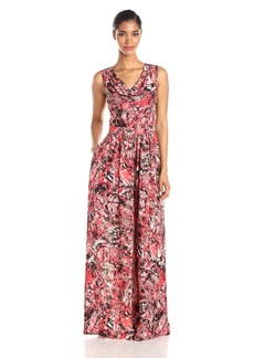 Marc New York by Andrew Marc Women's Sleeveless Cowl Neck Printed Maxi Dress