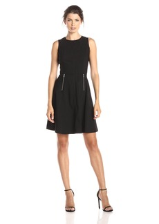 Marc New York by Andrew Marc Women's Sleeveless Fit and Flare Dress with Zipper Detail