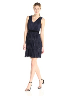 Marc New York by Andrew Marc Women's Sleeveless V-Neck Tiered Dress