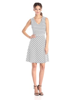 Marc New York by Andrew Marc Women's Stripe V Neck Fit and Flare Dress