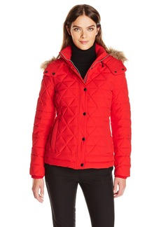 Marc New York by Andrew Marc Women's Tess Pyramud Quilted Coat With Removable Faux Fur Hood  L