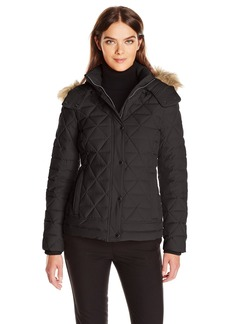 Marc New York by Andrew Marc Women's Tess Pyramud Quilted Coat with Removable Faux Fur Hood  XS