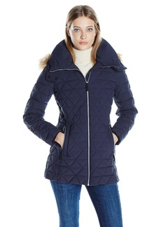 Marc New York by Andrew Marc Women's Tobi Quilted Coat With Faux Fur Removable Hood  S