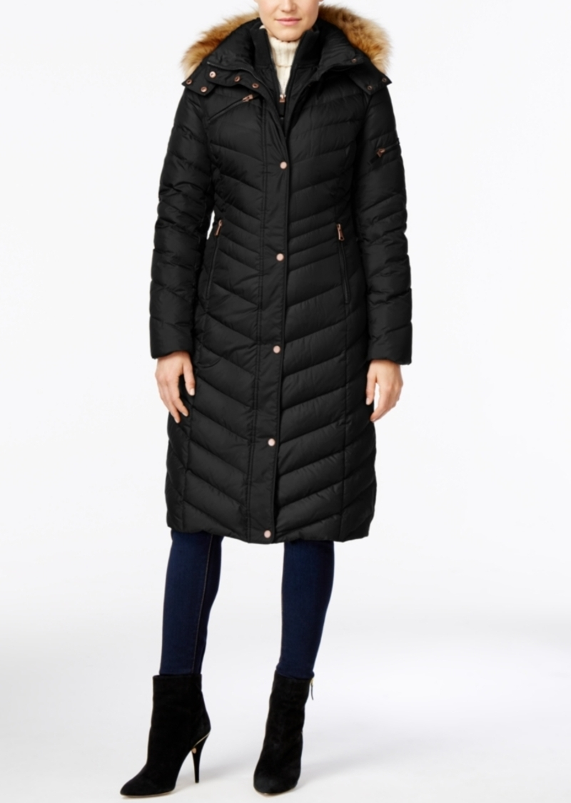 Andrew Marc Marc New York Hooded Faux-Fur-Trim Long Down Puffer Coat