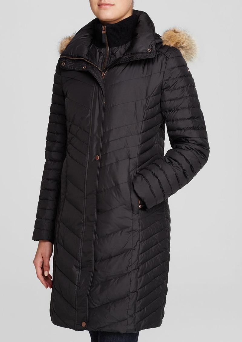 Andrew Marc Marc New York Kendall Fur Trim Chevron Puffer Coat