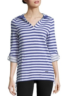 MARC NEW YORK by ANDREW MARC Performance V-Neck Long-Sleeve Striped Hoodie