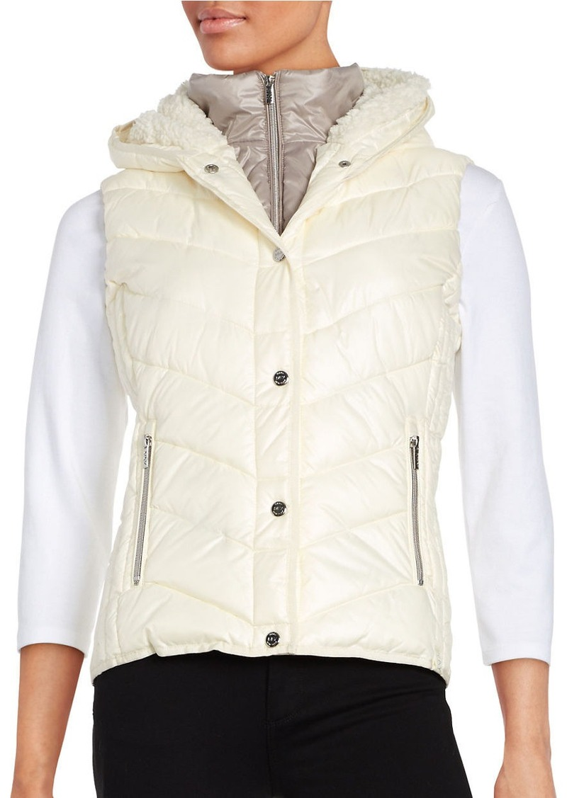 Andrew Marc MARC NEW YORK PERFORMANCE Sherpa-Lined Hooded Performance Puffer Vest