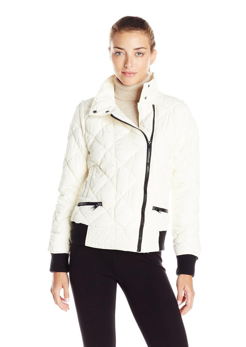 Andrew Marc Marc New York Performance Women's Asymmetric Puffer Moto Jacket W/ Zip Off Sleeves  L