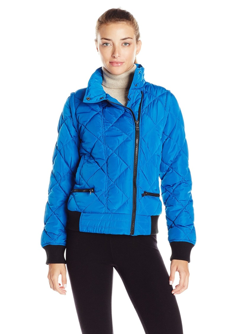 Marc New York Performance Women's Asymmetric Puffer Moto Jacket With Zip Off Sleeves Skydiver L