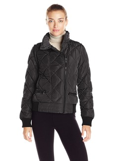 Marc New York Performance Women's Asymmetric Puffer Moto Jacket W/ Zip Off Sleeves  L