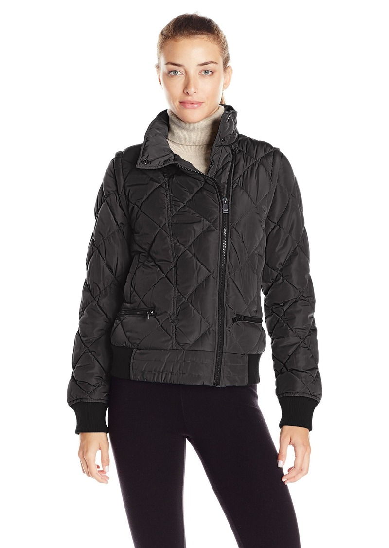 Andrew Marc Marc New York Performance Women's Asymmetric Puffer Moto Jacket W/ Zip Off Sleeves  L