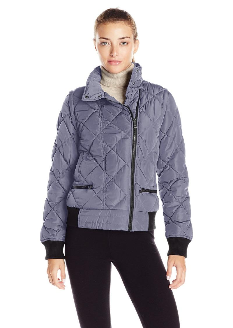 Andrew Marc Marc New York Performance Women's Asymmetric Puffer Moto Jacket W/ Zip Off Sleeves  M