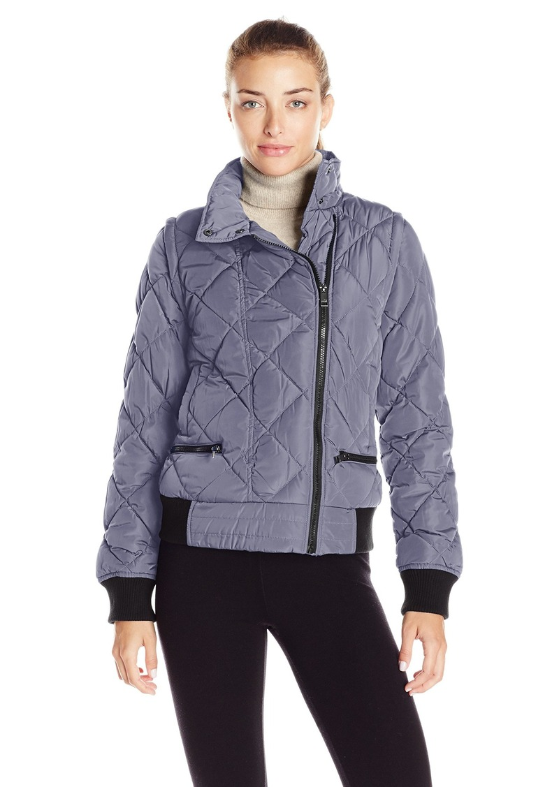 Andrew Marc Marc New York Performance Women's Asymmetric Puffer Moto Jacket W/ Zip Off Sleeves  XL