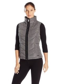 Marc New York Performance Women's Center Front Puffer Vest with Pu Trim and Sweat Knit Back