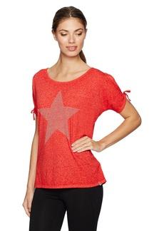 Marc New York Performance Women's Embellished Cold Shoulder Star Tee  L
