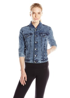 Andrew Marc Marc New York Performance Women's French Terry Distressed Denim Jean Jacket