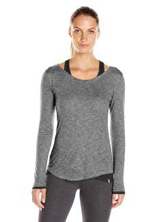 Marc New York Performance Women's ong Sleeve Stripe Cold Shoulder 2-Fer Black/ight Grey Heather arge