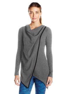 Andrew Marc Marc New York Performance Women's L/s Asymmetric Thermal Draped Tunic W/ Pu Piping  M