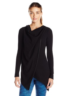 Marc New York Performance Women's L/s Asymmetric Thermal Draped Tunic with Pu Piping  XS