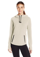 Marc New York Performance Women's L/s Hooded Funnel Neck Sweatshirt W/Pu Leather Trim  L