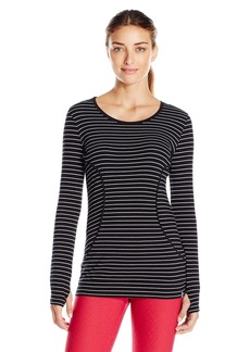 Marc New York Performance Women's L/s Stripe Banded Bottom Tee with Piping  XL