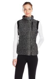 Andrew Marc Marc New York Performance Women's Marc Ny Performance Marled Sweater Knit Asymmetric Puffer Vest W/ Rib Back  L