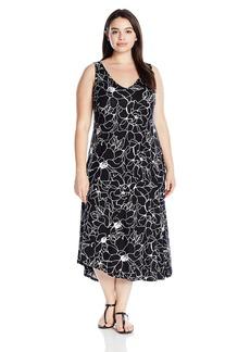 Marc New York Performance Women's Plus Size Asymmetric Printed Slip Dress  1X