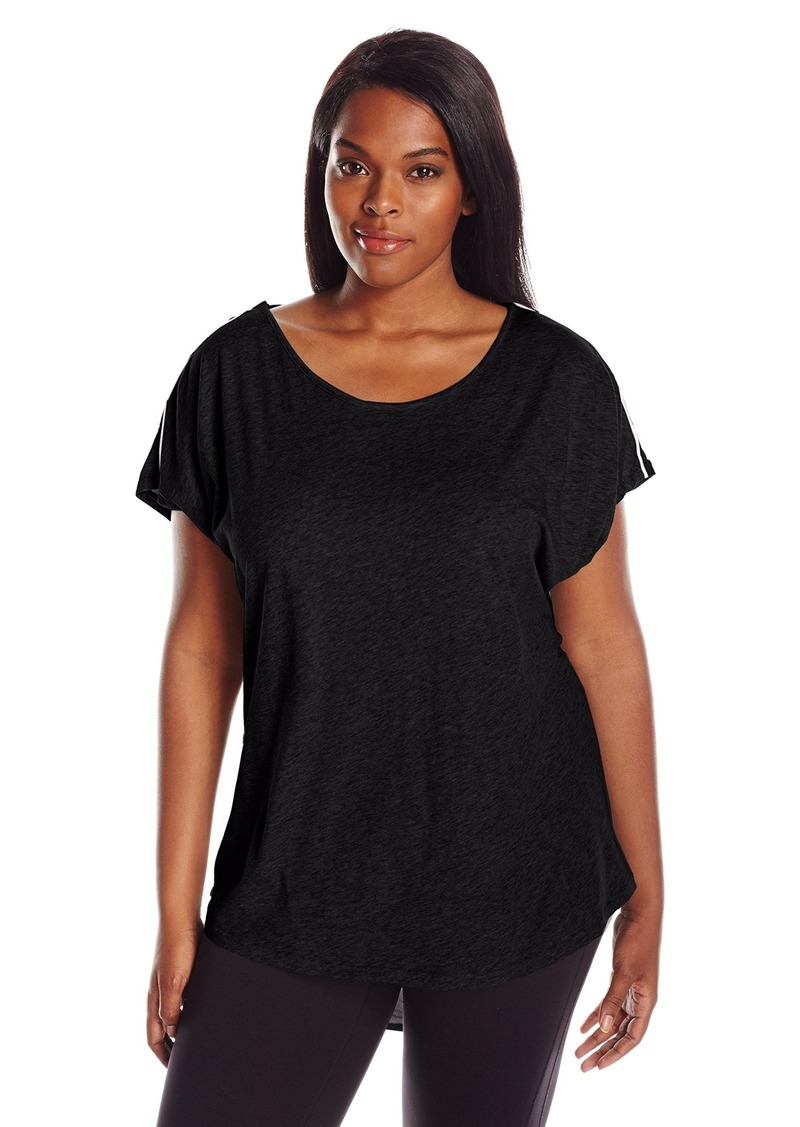 Marc New York Performance Women's Plus Size Draped Back Tee with Piping