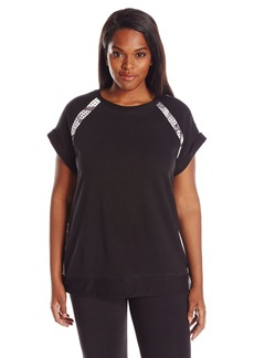 Marc New York Performance Women's Plus Size S/s Pullover with Scuba Insets