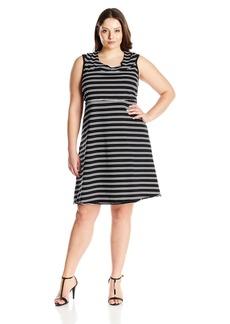 Marc New York Performance Women's Plus Size Thin Stripe Dress with Shelf Bra  2X