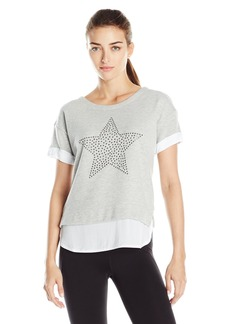 Marc New York Performance Women's Short Sleee Scoop Neck 2-Fer with Star