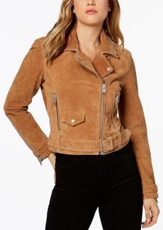 Marc New York Suede Belted Moto Jacket