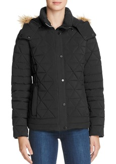 Marc New York Tess Faux Fur Trim Pyramid Down Coat