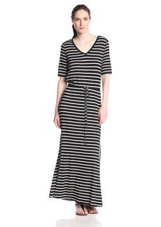Marc New York Women's Elbow Sleeve Neck Stripe Maxi Dress