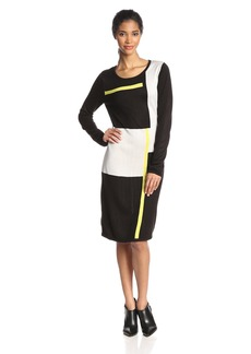 Andrew Marc Marc New York Women's Long Sleeve Printed Sweater Shift Dress