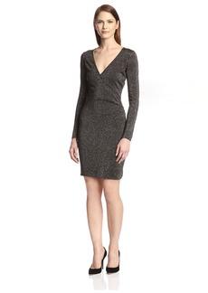 Marc New York Women's Lurex Front Wrap Knit Dress  L