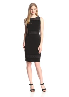 Marc New York Women's Sleeveless Mesh Yoke Tucking Trim Shift Dress