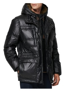 Men's Andrew Marc Kincaid Quilted Down Coat With Faux Fur Trim