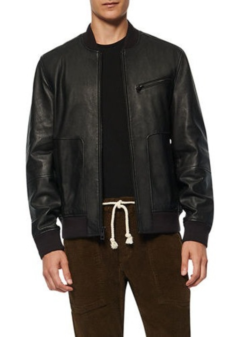 Andrew Marc Men's Praslin Leather Zip-Front Jacket
