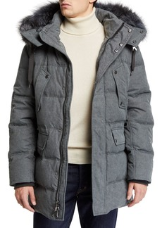Andrew Marc Men's Rockland Down Parka with Fur Trim