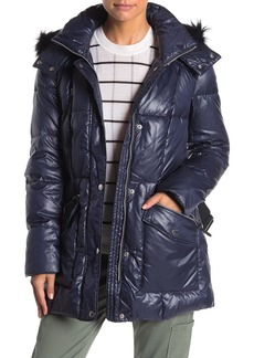 Andrew Marc Susan Quilted Genuine Fox Fur Belted Jacket