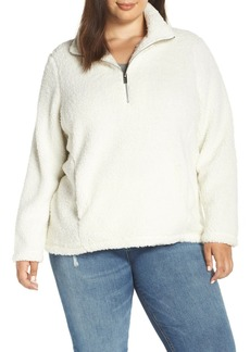 Andrew Marc Teddy Faux Shearling Fleece Quarter Zip Jacket (Plus Size)