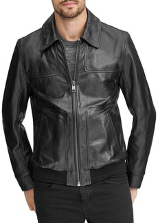 Andrew Marc Vaughn Leather Bomber Jacket
