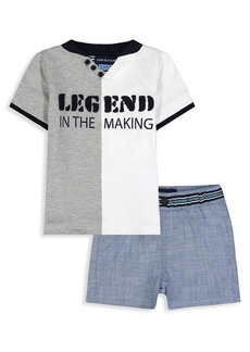 Andy & Evan Little Boy's 2-Piece Open V Henley & Shorts Set