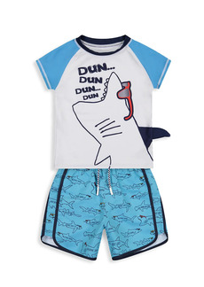 Andy & Evan Little Boy's Shark Sunglasses 2-Piece Rashguard & Shorts Set
